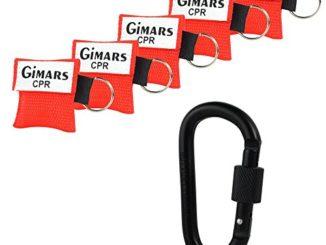GIMARS 5 Stücke CPR Maske mit Karabinerhaken CPR Mask RESPI-Key Beatmungsmaske Schlüsselanhänger Beatmungshilfe Notfalltuch Taschenmaske Erste Hilfe